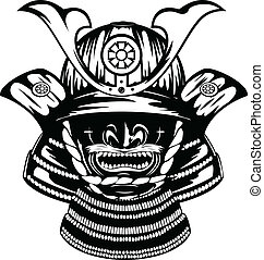 Vector illustration samurai helmet, menpo with yodare-kake