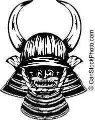 samurai helmet with horns menpo with yodare-kake