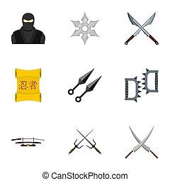 Samurai icons set, flat style - Samurai icons set. Flat set...