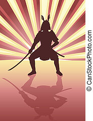 Samurai - Illustration of an armored samurai on light burst...