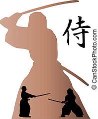 samurai battle with big shadow
