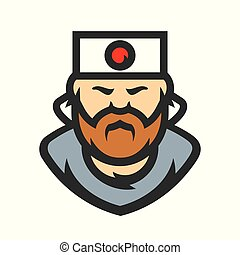 Samurai japan Vector Cartoon illustration. - Asian man with...