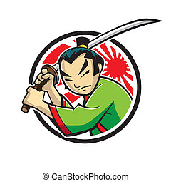 Samurai - japanese samurai were swinging a samurai sword