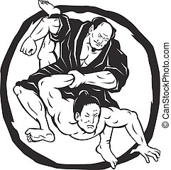 Illustration of two Samurai Jiu Jitsu Judo Fighting grappling with enso Circle in background done Drawing style.
