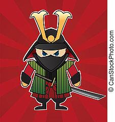 samurai, karikatur, abbildung