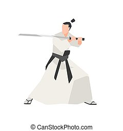 Samurai knight isolated on white background. Fearless...