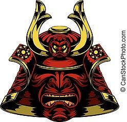 samurai, máscara, casco