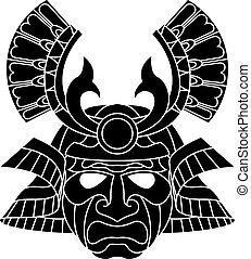samurai, máscara, monocromo