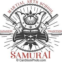 Samurai Martial Arts Print - Decorative print of traditional...