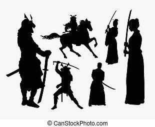 samurai, maschio femmina, silhouette