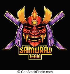 samurai mascot logo template