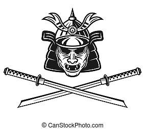 Samurai mask and two crossed katana swords vector