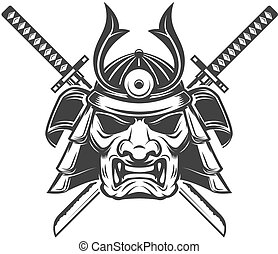 Samurai mask with crossed swords isolated on white background. D