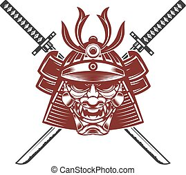 samurai mask with crossed swords isolated on white...