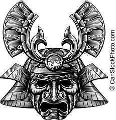 Samurai Mask Woodblock Style - An original illustration of a...