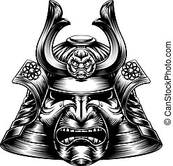 Samurai Mask Woodcut Style - A Japanese samurai mask and...