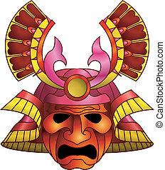 samurai, masker, rood