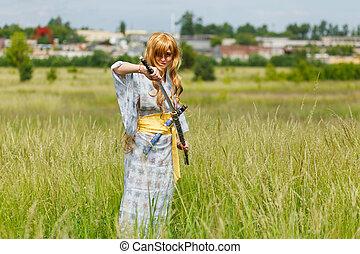 samurai, menina, espada, retrato