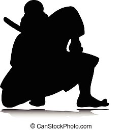 samurai one vector silhouettes