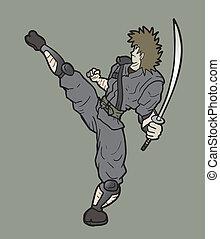 samurai, punch