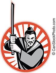 samurai, retro, espada, guerrero