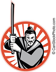 samurai, retro, zwaard, strijder