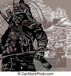 samurai, shogun, -, hand, cultuur, vector, getrokken, japan