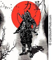 samurai, shogun, -, mano, cultura, vector, dibujado, japón