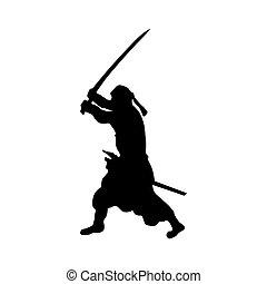 samurai, silhouette, black