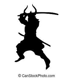Samurai silhouette black isolated on white background
