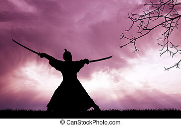 Samurai silhouette - illustration of samurai silhouette