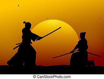Silhouette illustration of samurai combat