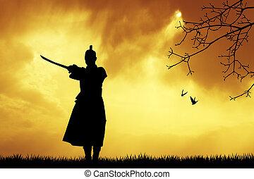 Samurai silhouette at sunset