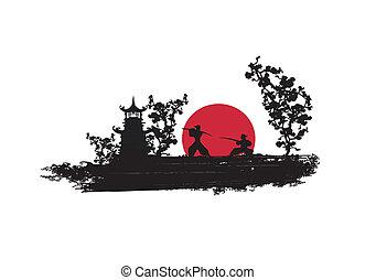 samurai, silhouette, vechter, japanner