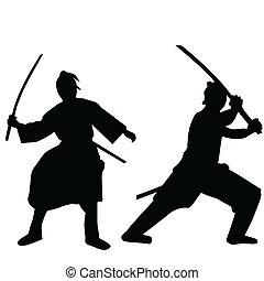 samurai, silhouetten, schwarz, zwei