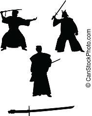 samurai, silhouettes