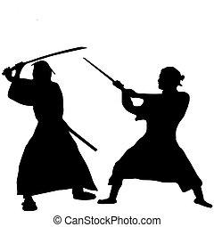 samurai, silueta, luchador, dos