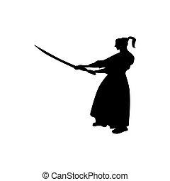 samurai, silueta, negro