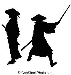 samurai, siluetas, dos