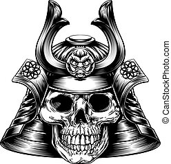 Samurai Skull - A samurai mask and helmet with a skeletal...