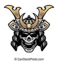 Samurai skull art. Warrior helmet. Vector illustration. -...