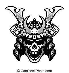 Samurai skull. Warrior helmet in black and white style....