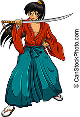 samurai, spotprent