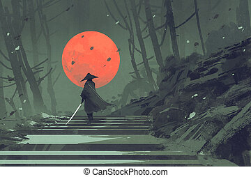 Samurai standing on stairway in night forest with the red ...