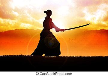 Samurai - Silhouette of a samurai posing during sunset
