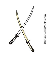 Samurai sword hand drawn icon