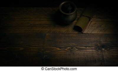 Samurai Sword Is Picked Up Off Table - Overhead shot of...