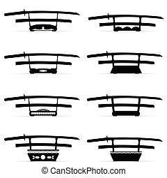 samurai sword katana set in black color illustration