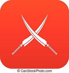 Samurai swords icon digital red