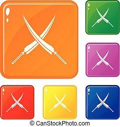 Samurai swords icons set vector color